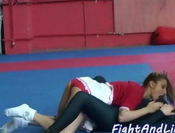 Wrestling babe in spandex pussylicking teen