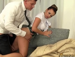 Clothed whore pissed on