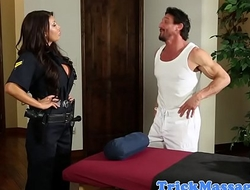 Busty police officer fucked by masseur