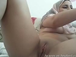Arab babe plays on camera