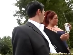 chubby redhead picked up for outdoor sex