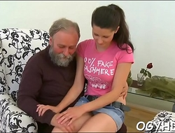 Horny old man teases young honey