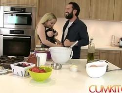 CUM KITCHEN: Busty Blonde Aiden Starr Fucks while Cooking in the Kitchen