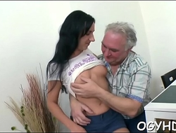 Kinky juvenile gal enjoys old boner