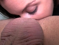 Horny newcomer play with cum when first time in front of camera with stranger