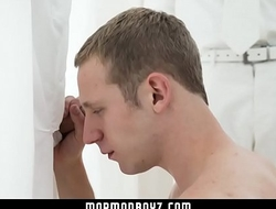 MormonBoyz-Young stud sucks a giant dick at a gloryhole