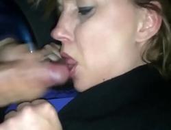Horny Milf Sucks a Stranger Off in the Car