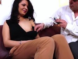 Extremely horny slut convince fake agent to fuck her dressed and very hard