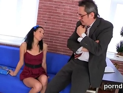 Fervent college girl gets tempted and pounded by her elderly teacher