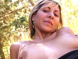 Blonde gipsy babe fucked in the wood by older fake agent'_s cock