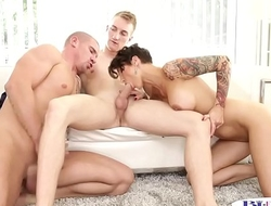 Bisexual jock licks before anal in mmf trio