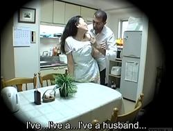 Subtitled Japanese homestay gone wrong host mom blowjob