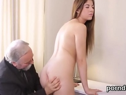 Lovesome schoolgirl gets teased and penetrated by her older instructor