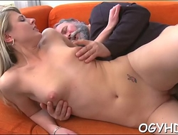 Young active gal blows old cock