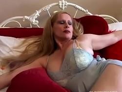 Beautiful big tits old spunker rubs her juicy muff until she cums