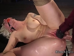 Tied up blonde anal fucked and cunt fisted