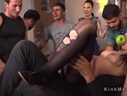 Pinched pussy slave walked in public
