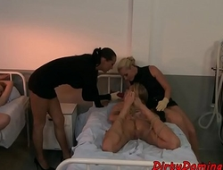 Lezdom MILF humiliates restrained slave