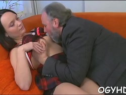 Hot young babe screwed by old guy