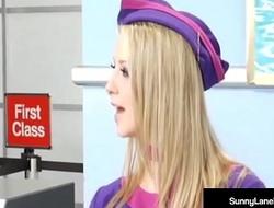 Stewardesses Sunny Lane &amp_ Eva Angelina Are Fucked On Plane!