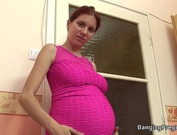 Pregnant redhead taking big black cock