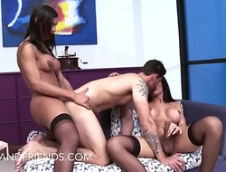 Hot Guy fucking and get fucked hard in the ass by two incredible Tgirls