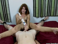 redhead has multiple orgasm during femdom handjob