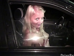 Hot blonde teen girl is undressing in car on the way to public sex gangbang orgy