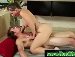 Hot asian masseuse sucking and fucking cock during nuru massage 06