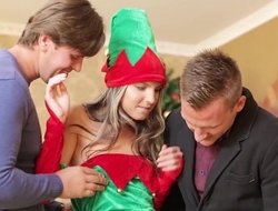 Russian babe in Christmas high-knee socks gets double fucked