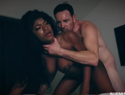 Submissive black slut with big natural tits gets properly fucked