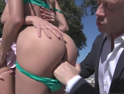 Wild Italian dude fucks two slim beauties at once