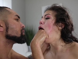 Cocky stallion punishes his Asian stepsister in brutal way